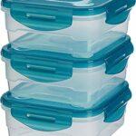 AmazonBasics - Frischhaltedosen-Set, luftdicht, 3-teilig, 16 x 16 x 7 cm