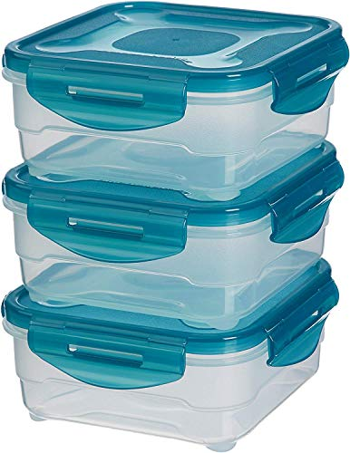 AmazonBasics – Frischhaltedosen-Set, luftdicht, 3-teilig, 16 x 16 x 7 cm