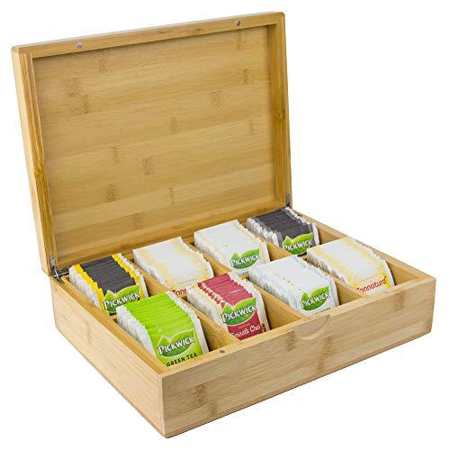 Tee Box aus Bambus – 8 Staufächer für 160 Teebeutel