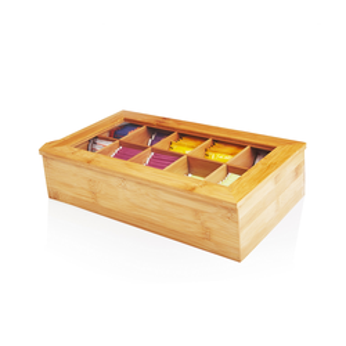 Lumaland Cuisine Teebox aus Bambus – 10 Fächer – 36,7 x 20 x 9 cm