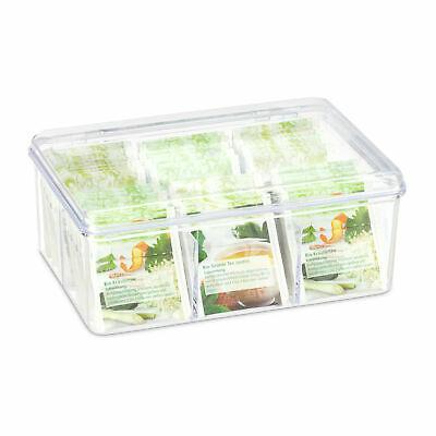 Relaxdays transparente Teebox – 6 Fächer mit Deckel und Aromaschutz 14,5 x 21,5 x 9 cm