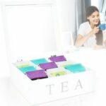 Teebox aus Holz mit 9 Fächern - Weiß