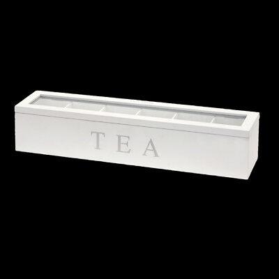 Teebox aus Holz mit 6 Fächern – Weiß