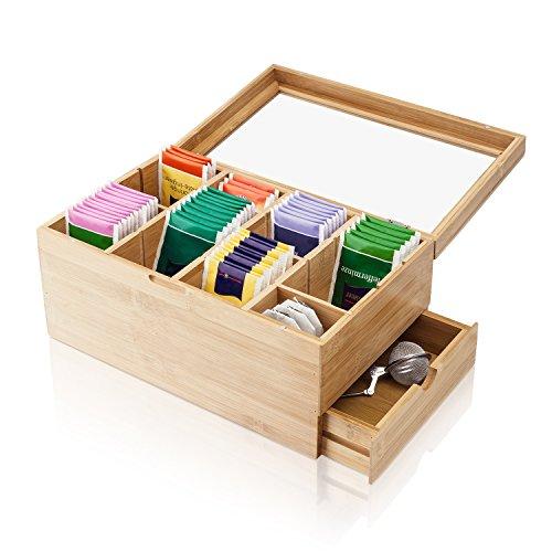 Amazy Teebox aus Bambus – 8 verstellbare Trennfächer und Schublade