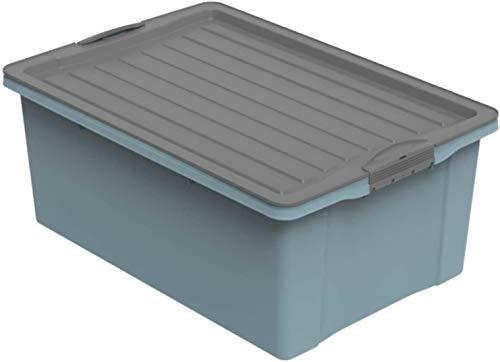 Rotho Eco Compact Aufbewahrungsbox 38l – 57 x 40 x 25 cm – blau/anthrazit