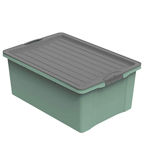 Rotho Eco Compact Aufbewahrungsbox 38l – 57 x 40 x 25 cm – grün/anthrazit