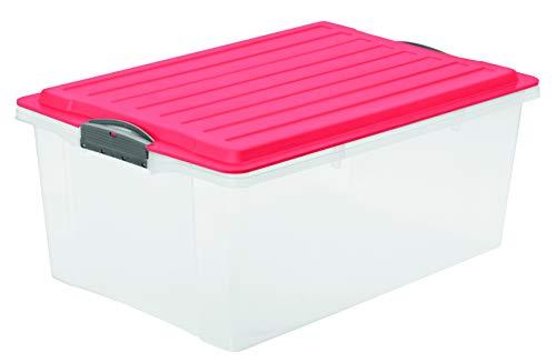 Rotho Eco Compact Aufbewahrungsbox 38l – 57 x 40 x 25 cm – transparent/coral
