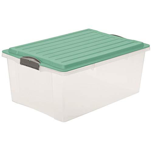 Rotho Eco Compact Aufbewahrungsbox 38l – 57 x 40 x 25 cm – transparent/türkis