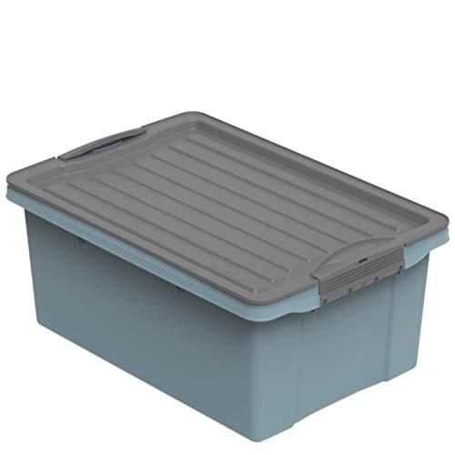 Rotho Eco Compact Aufbewahrungsbox 13l – 40 x 28 x 18 cm – blau/anthrazit