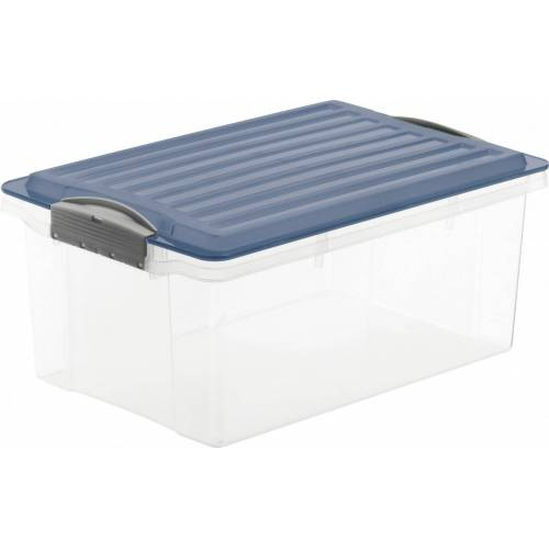 Rotho Eco Compact Aufbewahrungsbox 13l – 40 x 28 x 18 cm – transparent/blau
