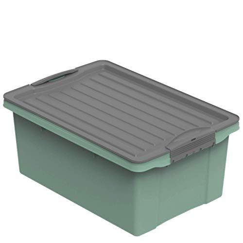 Rotho Eco Compact Aufbewahrungsbox 13l – 40 x 28 x 18 cm – grün/anthrazit