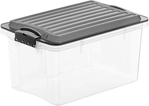 Rotho Eco Compact Aufbewahrungsbox 13l – 27 x 18,5 x 15 cm – transparent/anthrazit