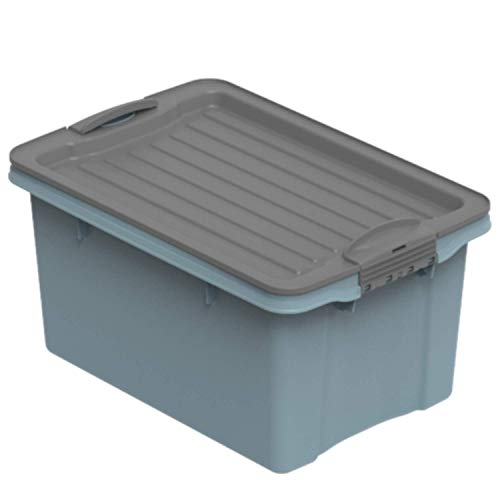 Rotho Eco Compact Aufbewahrungsbox 13l – 27 x 18,5 x 15 cm – blau/anthrazit