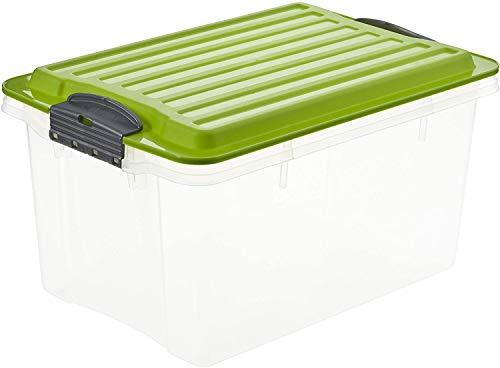Rotho Eco Compact Aufbewahrungsbox 13l – 27 x 18,5 x 15 cm – transparent/grün