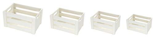 DARO DEKO Holz Kiste mit Griffen – weiß – Set – 4 verschiedene Größen