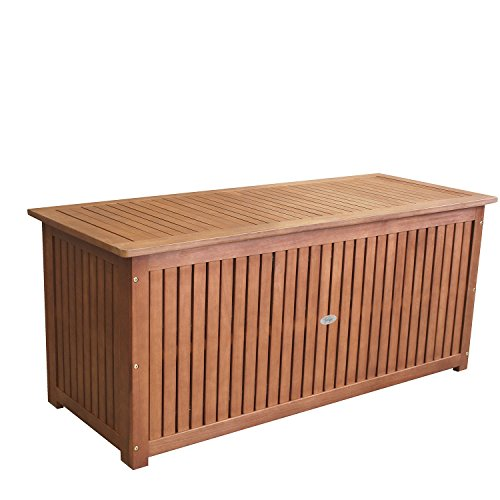 Wohaga Hartholz Auflagenbox aus Eukalyptus – 133 x 58 x 55 cm