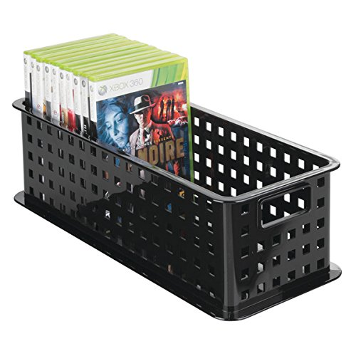 mDesign CD Aufbewahrungsbox für CDs, DVDs, Blu-Rays, PS4 und Xbox One Spiele – lang – schwarz
