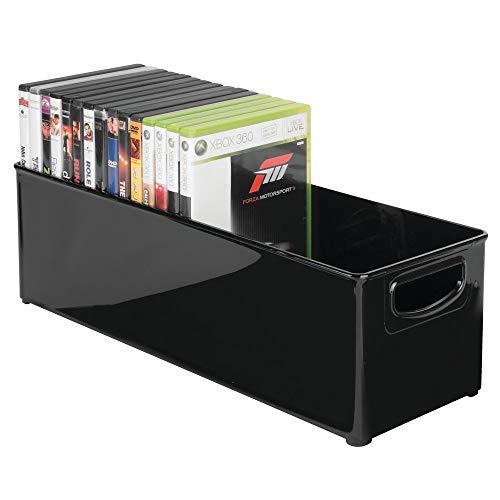 mDesign CD Aufbewahrungsbox für CDs, DVDs, Blu-Rays, PS4 und Xbox One Spiele – lang – transparent