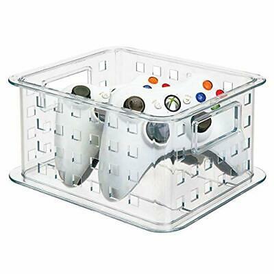mDesign CD Aufbewahrungsbox für CDs, DVDs, Blu-Rays, PS4 und Xbox One Spiele – kurz und löchrig