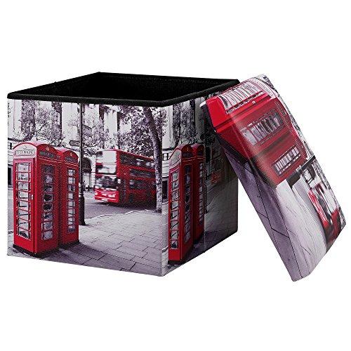 [en.casa] Faltbarer Sitzhocker + Aufbewahrungsbox – 30 x 30 x 30
