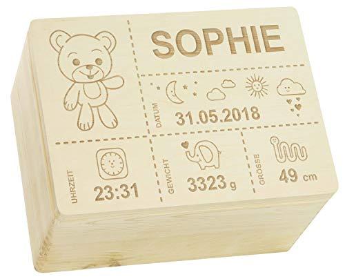 LAUBLUST Holzkiste mit Gravur – personalisiert mit Geburtsdaten