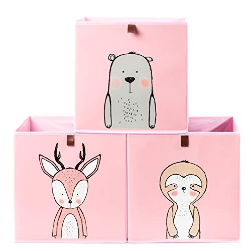 2friends Aufbewahrungsboxen für Kinder – 3 Stück mit Schlaufe zum Herausziehen – rosa