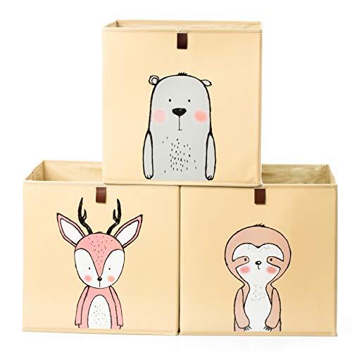 2friends Aufbewahrungsboxen für Kinder – 3 Stück mit Schlaufe zum Herausziehen – gelb