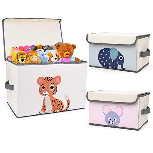 DIMJ Aufbewahrungsbox mit Deckel für Kinder – 3er Set – 2 Größen