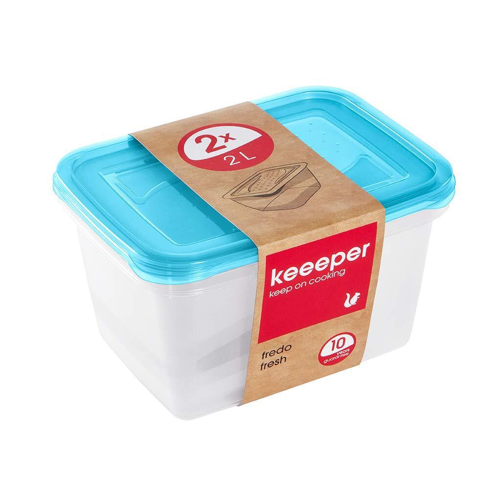 keeeper Fredo Fresh Frischhaltedose – 20,5 x 15,5 x 10,5 cm – eckig – 2er Set