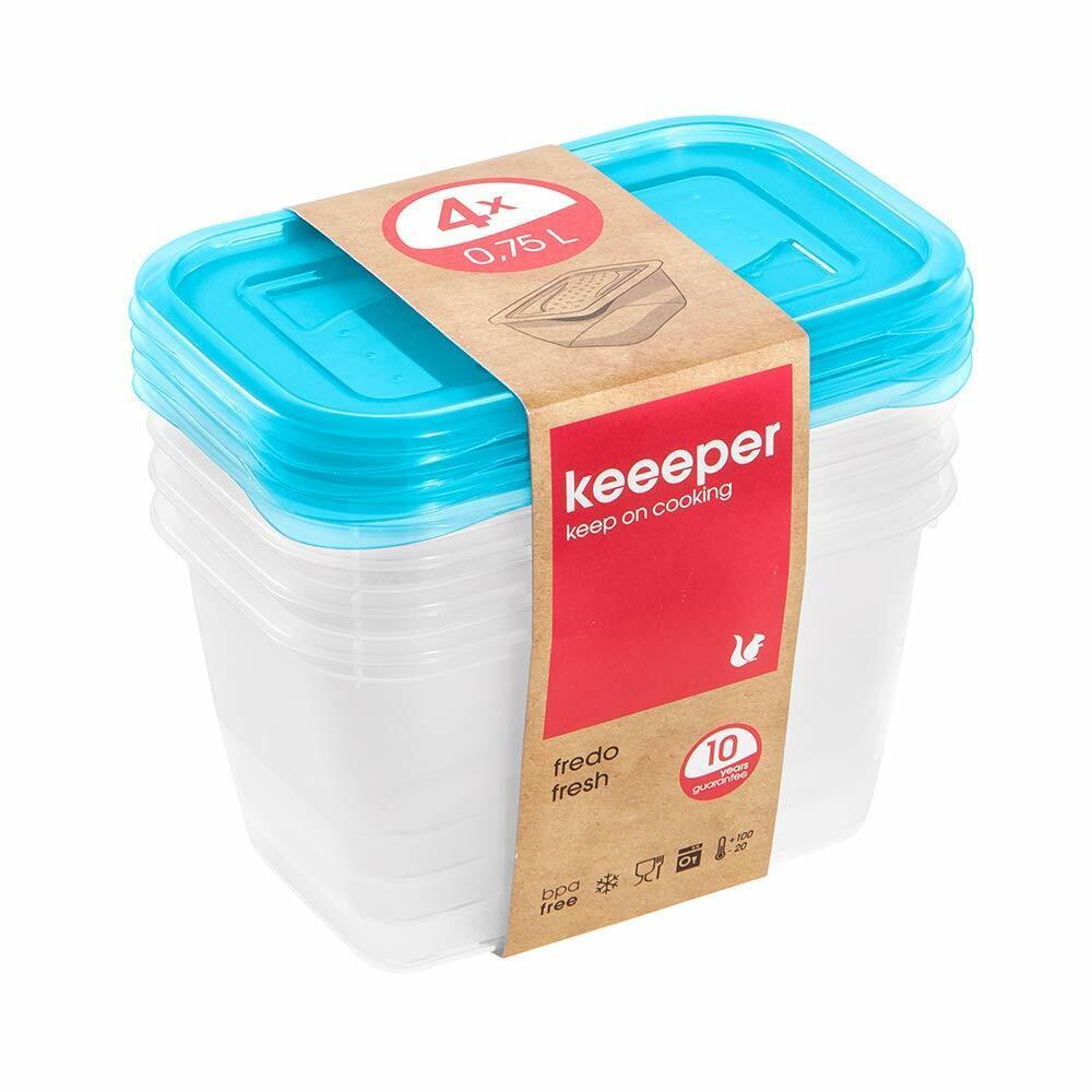 keeeper Fredo Fresh Frischhaltedose – 15,5 x 10,5 x 8,5 cm – eckig – 4er Set