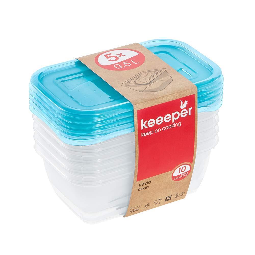 keeeper Fredo Fresh Frischhaltedose – 15,5 x 10,5 x 6 cm – eckig – 5er Set
