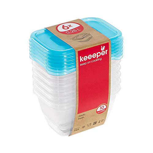 keeeper Fredo Fresh Frischhaltedose – 10,5 x 7,5 x 6 cm – eckig – 6er Set