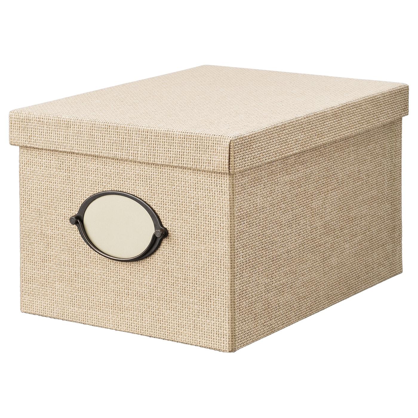 IKEA KVARNVIK Kasten mit Deckel – 35 x 25 x 20 cm – beige