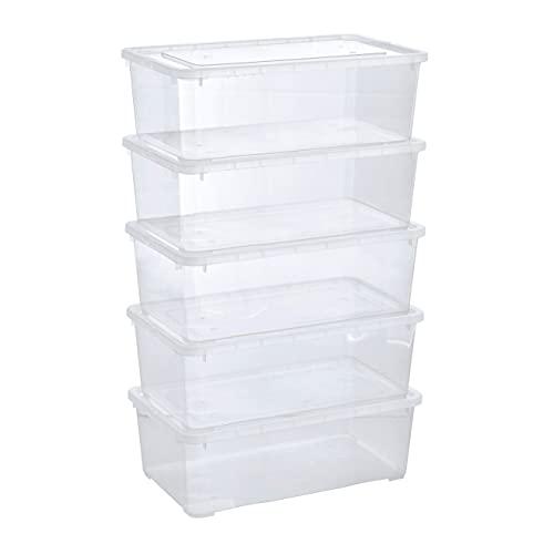 Grizzly Aufbewahrungsboxen 5 x 5 L mit Deckel transparent – Klarsichtboxen stapelbar mit Belüftung