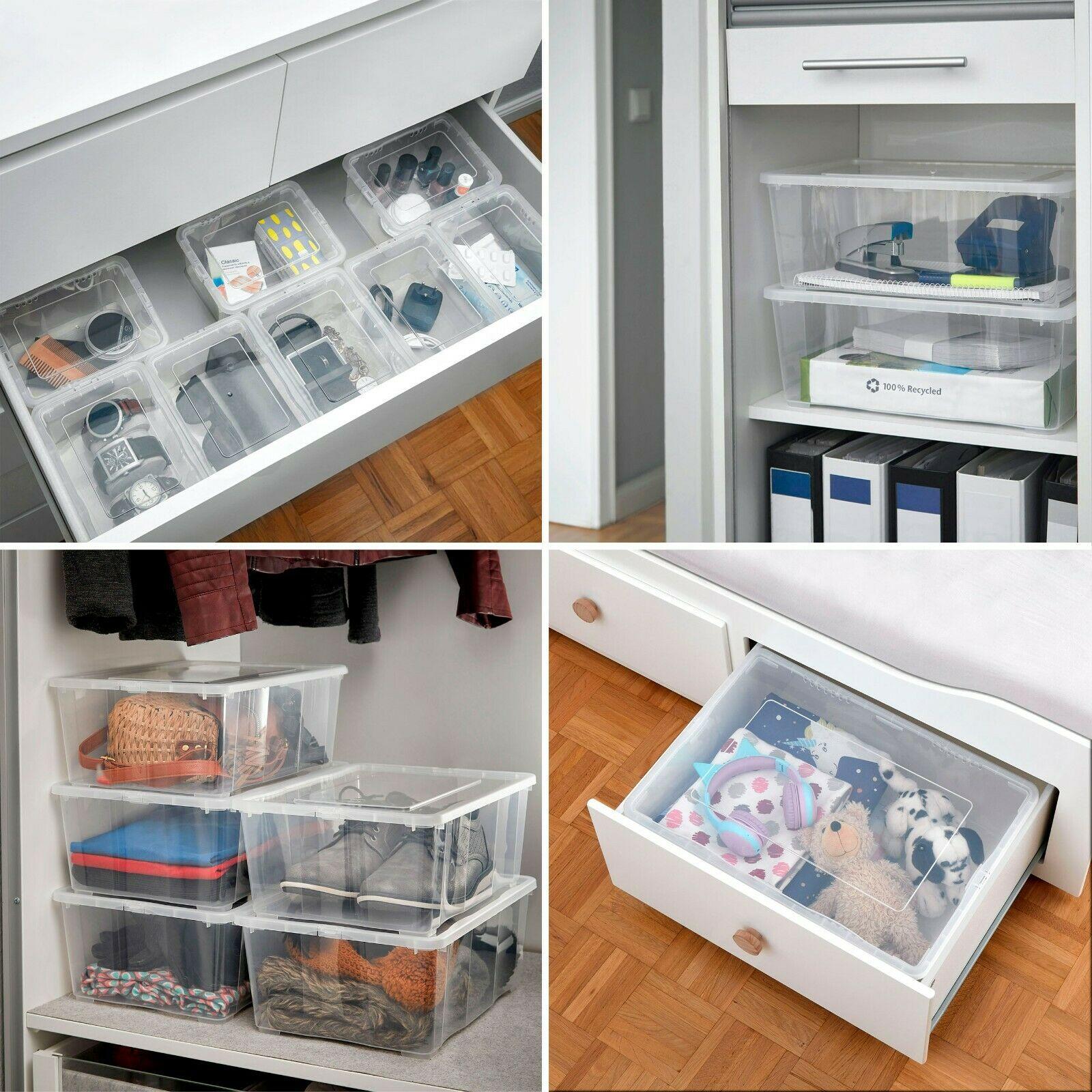 Grizzly Aufbewahrungsboxen 3 x 10 L mit Deckel transparent – Klarsichtboxen stapelbar mit Belüftung