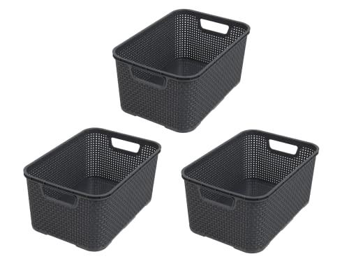 BranQ – Korb in Rattan Design – 10er Set – 10l