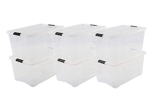 Iris Ohyama 6er-Set Aufbewahrungsboxen mit Klickverschluss – 45 l