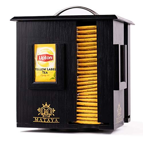 MATAYA Teebox Aus Bambus – Rotierende Teebeutel Aufbewahrungsbox Mit 4 Fächer